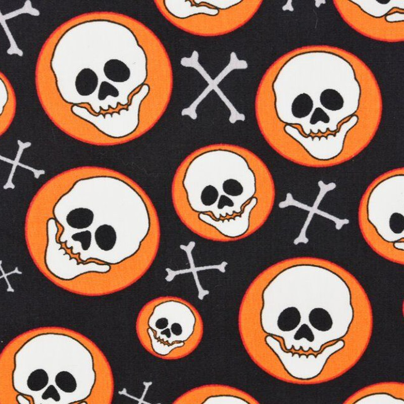 100% Cotton Poplin Fabric Skeleton Skull Circle Crossbones Halloween 145cm Wide