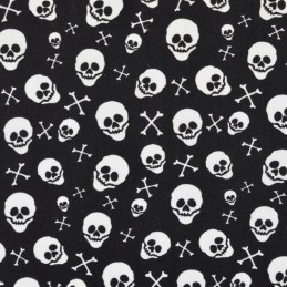 100% Cotton Poplin Fabric Skeleton Heads Skulls Crossbones Halloween 145cm Wide