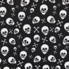 100% Cotton Poplin Fabric Skeleton Heads Skulls Crossbones Halloween 145cm Wide