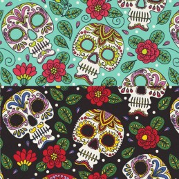 100% Cotton Poplin Fabric Halloween Sugar Skulls Pretty Floral Flower 145cm Wide