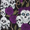 100% Cotton Fabric Large Skulls and Roses Thorns Halloween Floral 145cm Wide