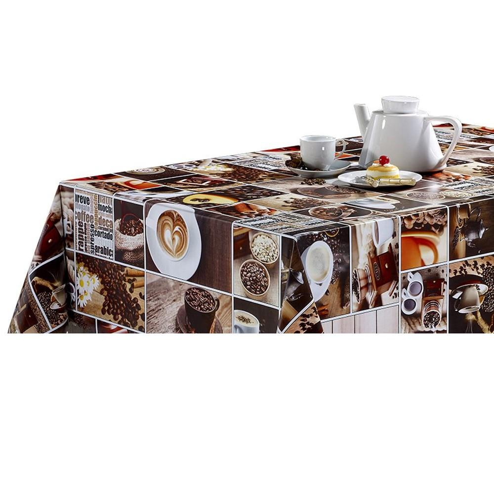 PVC Vinyl Tablecloth Coffee...