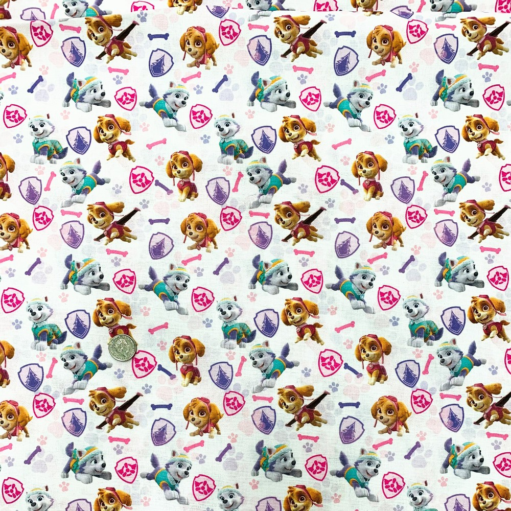 100% Cotton Digital Fabric Girls Paw Patrol Skye Katie Dogs Novelty 150cm Wide