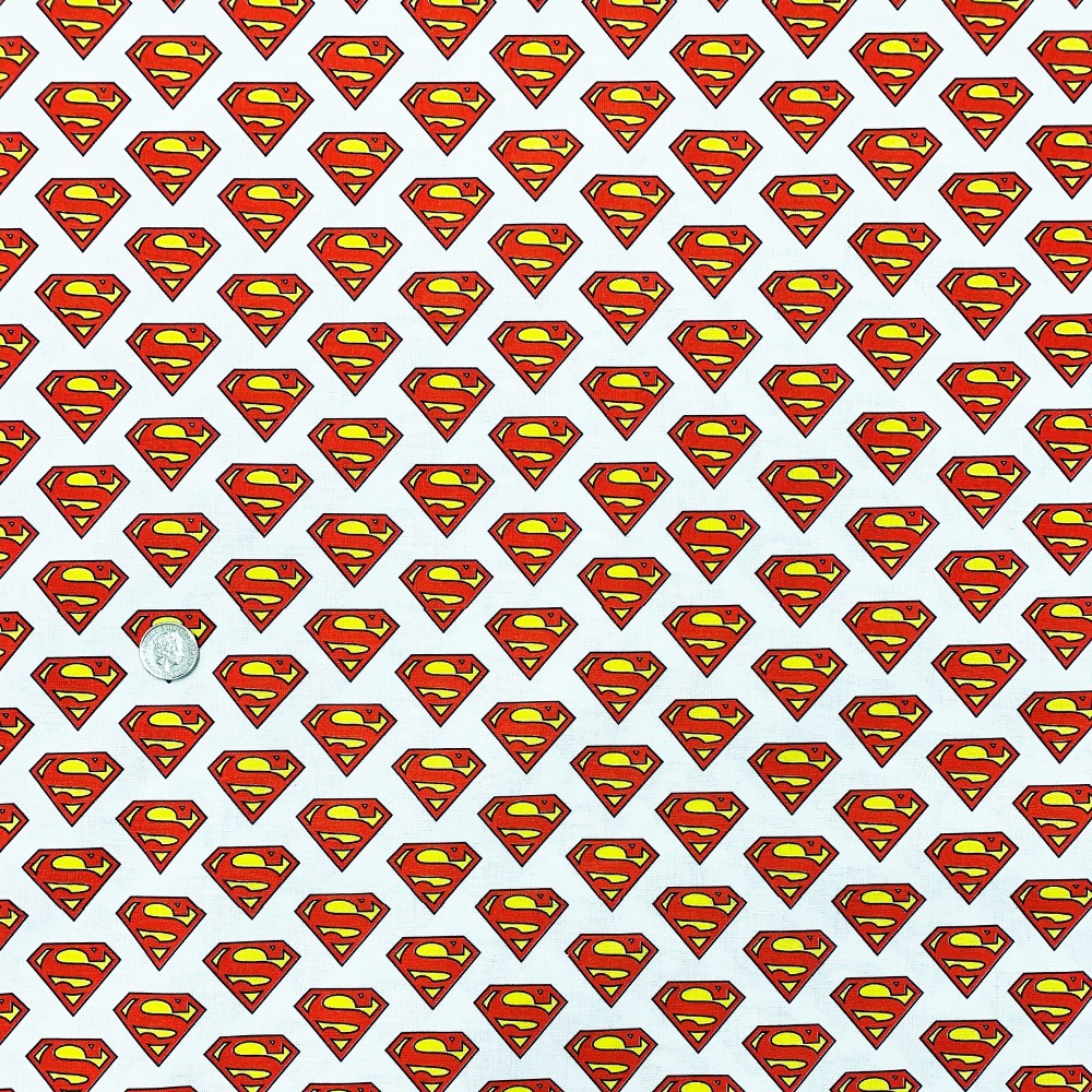 100% Cotton Digital Fabric Superman Badge Superhero Logo DC Comics