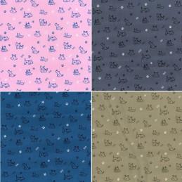 100% Cotton Poplin Fabric Rose & Hubble Puppy Dog Bones Paw Prints