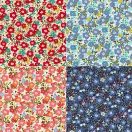 100% Cotton Poplin Fabric Rose & Hubble Waterloo Row Floral Flower Heads