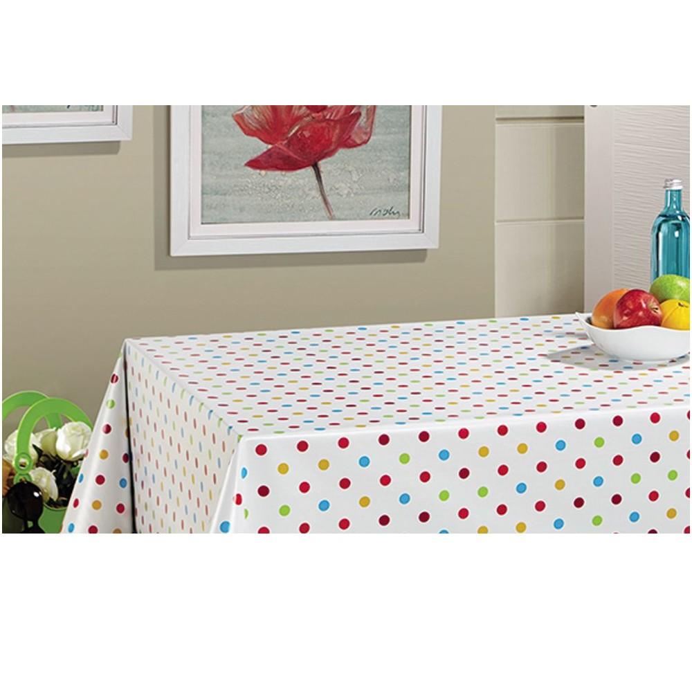 PVC Vinyl Tablecloth Polka...