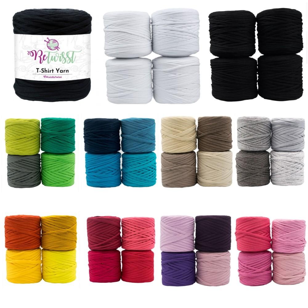 ReTwisst Recycled T-Shirt Craft Yarn Cotton Elastane Crochet Knitting Decor Min. 650g Black Shades