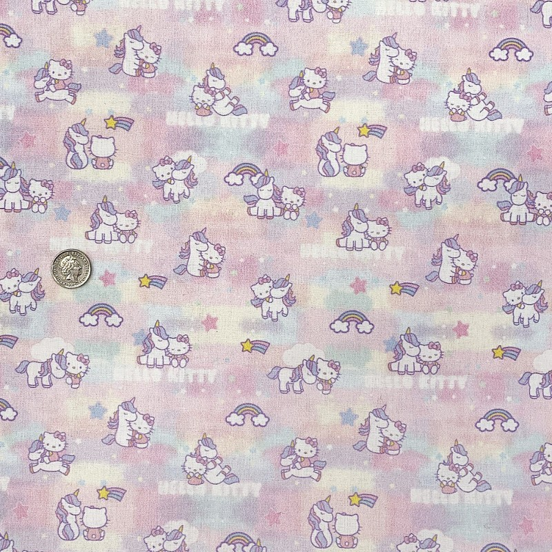100% Cotton Digital Fabric Hello Kitty Unicorn Rainbow Shooting Star 150cm Wide