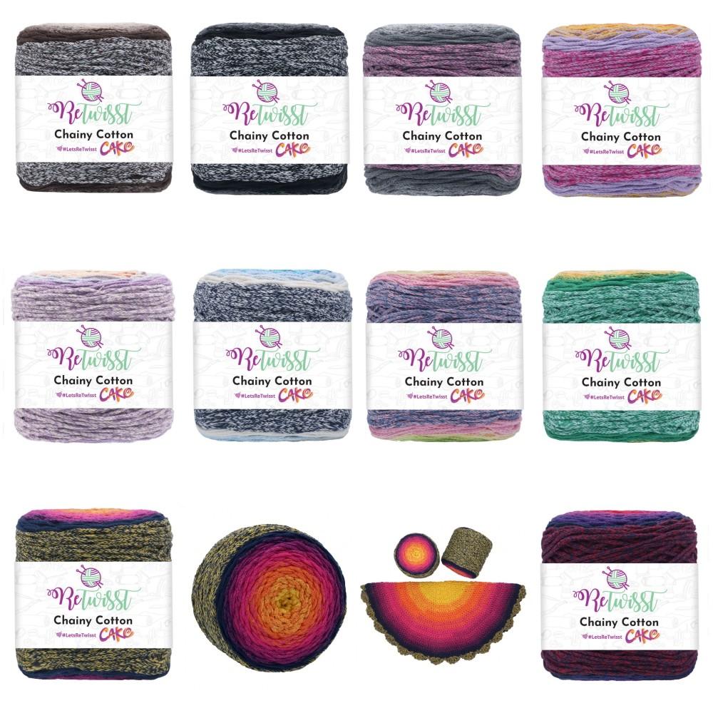ReTwisst Chainy Cotton Cake Recycled Craft Crochet Knitting Yarn Home Decor 250g RCC01