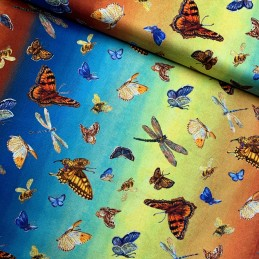 100% Cotton Fabric Gradient Butterflies Dragonfly Bumble Bee Insect Butterfly