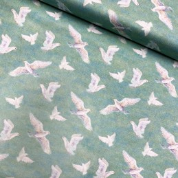 100% Cotton Fabric Flying Doves Birds Nature Mint Sky Animals Bird