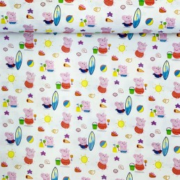 100% Cotton Digital Fabric Beach Time With Peppa Pig & Family Novelty 150cm Wide