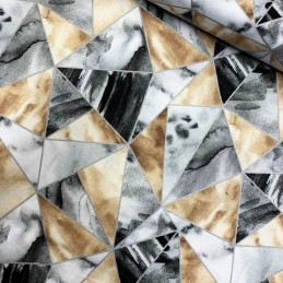 100% Cotton Fabric Glitter Grey Abstract Geometric Triangle Shape Metallic Print
