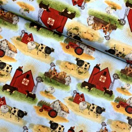 100% Cotton Fabric Farm Barn & Animals Cow Sheep Horse Rooster Hen Windmill