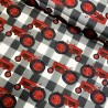 100% Cotton Fabric Red Farm Tractor Checkered Gingham Check Vehicle Farming