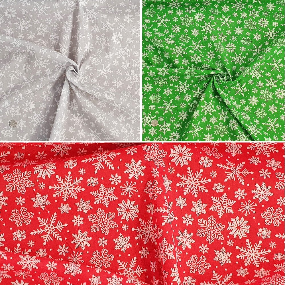 Polycotton Fabric Jim's Winter Wonderland Snowflakes Falling Snow Xmas Craft Green
