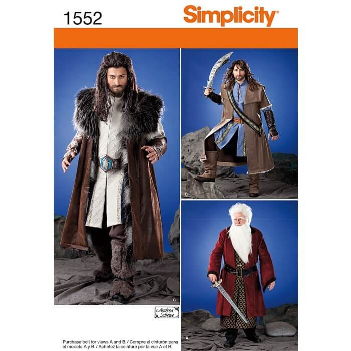 Simplicity Sewing Patterns 1552 Mens Medieval Tunic, Cloak And Accessories