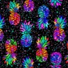 100% Cotton Fabric Timeless Treasures Midnight Tropical Pineapples