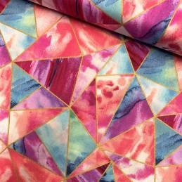 100% Cotton Fabric Glitter Pink Glass Geometric Triangle Shape Metallic Print