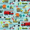 100% Cotton Fabric Nutex Vehicles Police Car Tractor Pets Bicycle Ambulance