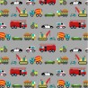 100% Cotton Fabric Nutex Vehicles Fire Engine Crane Cars Bicycle