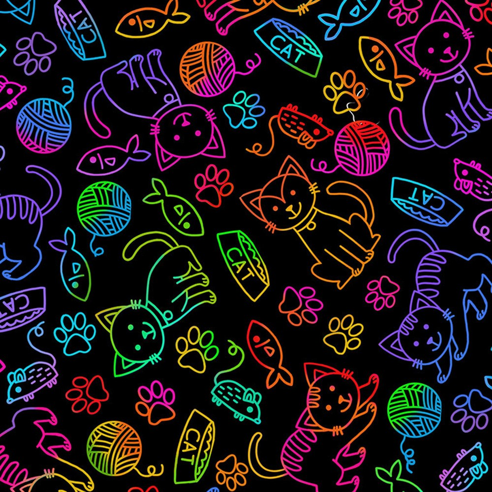 100% Cotton Fabric Timeless Treasures Rainbow Cat Outline Fish Mouse Pets