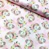 100% Cotton Fabric Pretty Unicorns In Roses Glitter Magic Girls Floral Flower