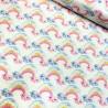 100% Cotton Fabric Cute Glitter Rainbow Cloud Faces Sky Girly Sparkle