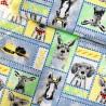 100% Cotton Fabric Fancy Farms Cute Dog Donkey Deer Alpaca Pig Chicks Hats