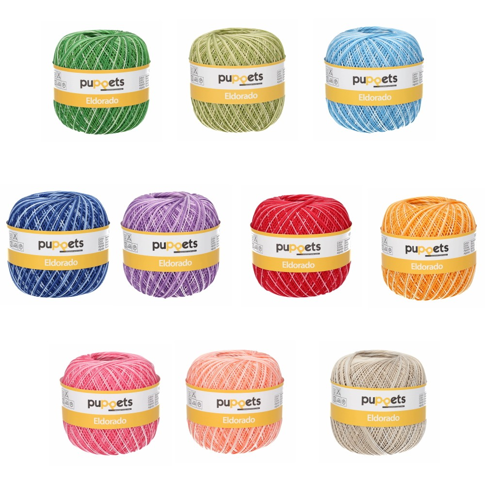 Puppets Eldorado No.10 Variegated 100% Cotton Crochet / Knitting Yarn Thread 50g Ball