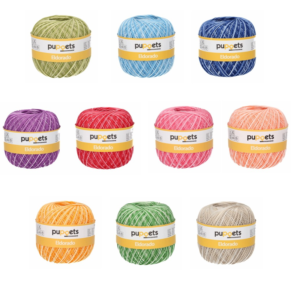 Puppets Eldorado No.12 Variegated 100% Cotton Crochet Knit Yarn Thread 50g Ball