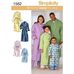 Simplicity Sewing Patterns 1562 Easy Sew Child Teen Adult Bathrobe Dressing Gown