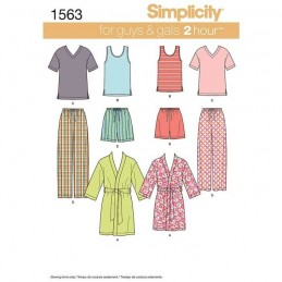 Simplicity Sewing Pattern , Mens & Teens Sleepwear 16 Piece Fabric 1563