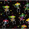 Satin Fabric Halloween Day Of The Dead Bunting Skeletons Party