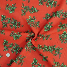 Polycotton Fabric Christmas Bunches of Holly Leaves Festive Berries Wreath Craft Red