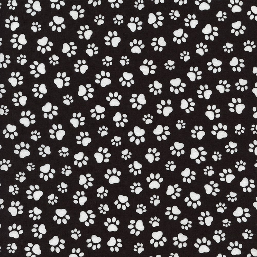 100% Cotton Fabric Timeless Treasures Black & White Dog Paw Prints