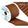 Wired Edge Lurex Tartan Ribbon 63mm Christmas Xmas Festive Plaid Check