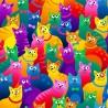100% Cotton Fabric Timeless Treasures Rainbow Cartoon Cats Cat
