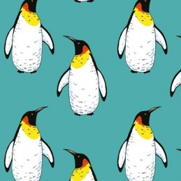 Cotton Jersey Fabric Christmas Penguins 150cm Wide