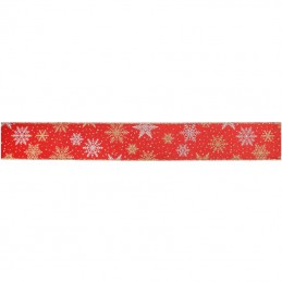 Eleganza Ribbon Wired Edge Christmas Gold & Sliver Snowflakes 63mm