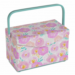 Sewing Box Fold Over Lid PVC Handle Floral Dream Sewing Basket Craft Hobby Gift