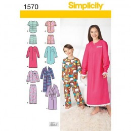 Simplicity Sewing Patterns 1570 Child's, Girl's, & Boy's Sleepwear Loungewear K5