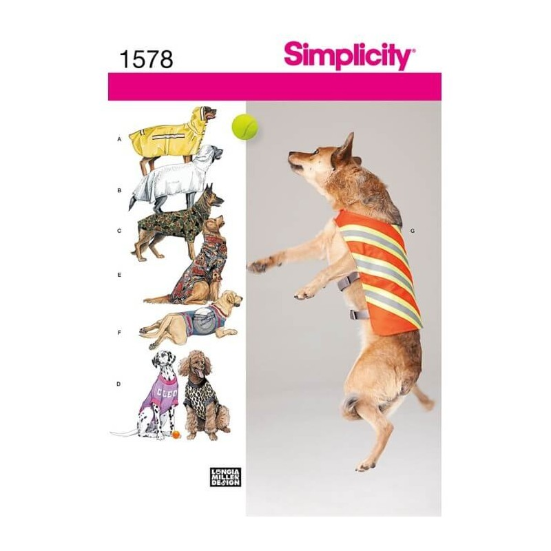 Simplicty Large Size Dog Clothes Craft Sewing Patterns 1578