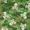100% Cotton Poplin Fabric Army Camouflage Skulls & Crossbones 140cm Wide