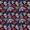 100% Cotton Digital Fabric Blue Sugar Skulls Dancing Skeletons Crafty 140cm Wide