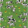 100% Cotton Fabric Nutex Farm Fun Happy Cows in the Grass Field Farmyard Animals
