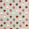 Cotton Rich Linen Look Fabric Berry Multi Strawberries Upholstery Strawberry