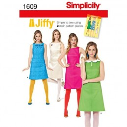 Misses' Jiffy 1960's Vintage Dress Fabric Sewing Pattern 1609