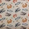 Cotton Rich Linen Look Fabric Digital Marine Life Fish Upholstery